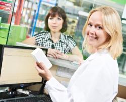 Pharmacist and lady customer