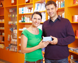 Couple in pharmacy